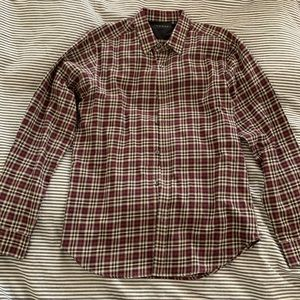 Theory Long Sleeve collared shirt red stripe men S